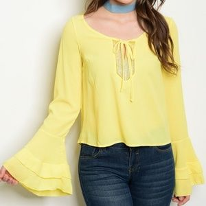 Tops - Yellow Embellished Tie Neck Bell Sleeve Boho Top